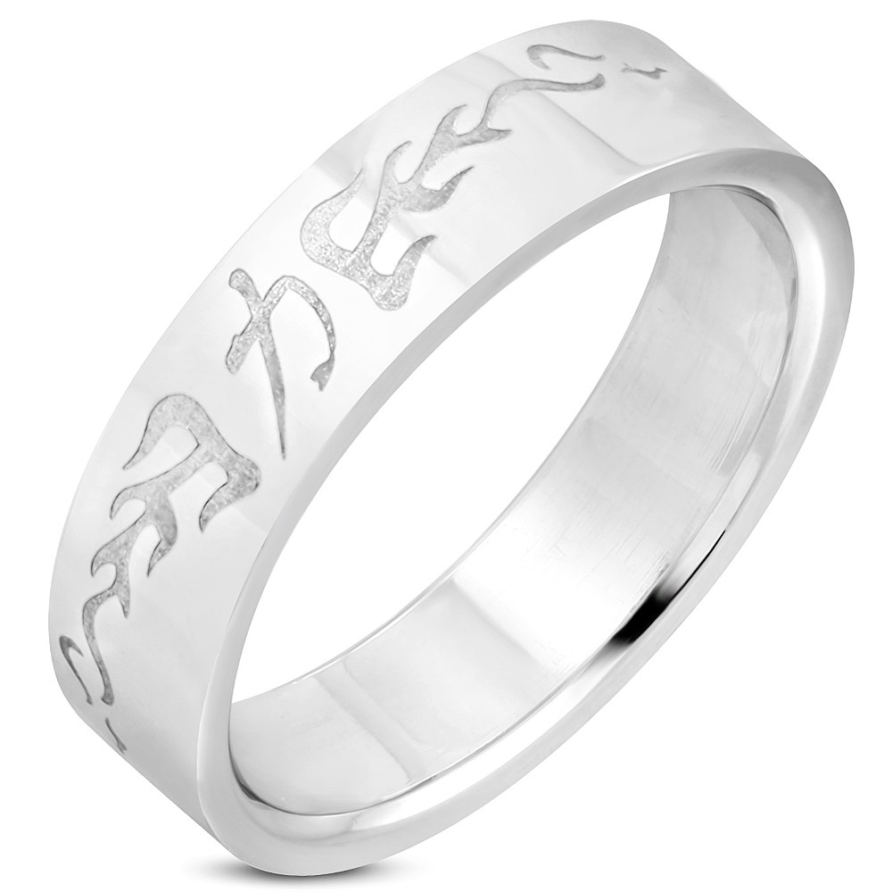 6mm   stainless steel chinese symbol for strength flat band ring