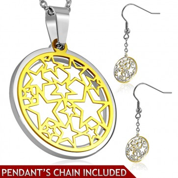 Stainless Steel 2-tone Cutout Star Journey Circle Charm Chain Necklace & Pair of Long Drop Hook Earrings (SET)