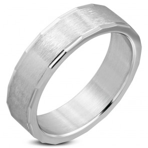 6mm | Stainless Steel Matte Finished Engravable Coin Edge Wedding Flat Band Ring ­