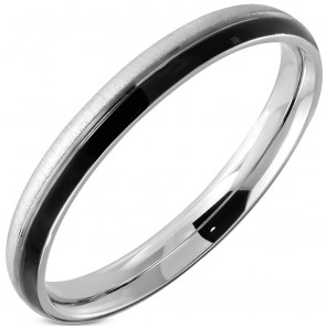 3mm | Stainless Steel Satin Finished 2­-tone Comfort Fit Half- Round Wedding Band Ring