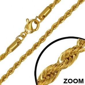 L45cm W3mm | Gold Color Plated Stainless Steel Lobster Claw Clasp Braided Rope Link Chain