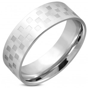 8mm | Stainless Steel Checker/ Grid Comfort Fit Wedding Flat Band Ring 