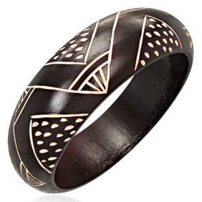 DIA62mm | Fashion Tribal Design Carved Half Round Wood Bangle