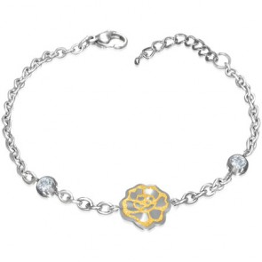 Stainless Steel Lobster Claw Clasp Closure 2-tone Sandblasted Rose Flower Circle Link Chain Bracelet/ Anklet w/ Clear CZ