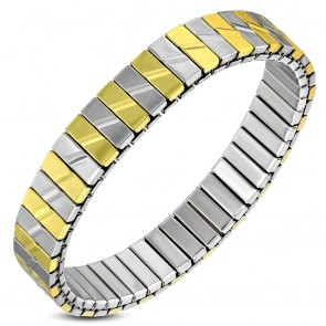 10mm | Stainless Steel 2-tone Panther Link Stretch Bracelet