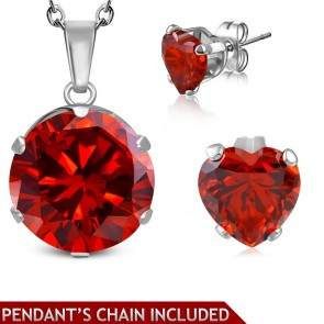 Stainless Steel Prong-Set Round Circle Charm Chain Necklace & Pair of Love Heart Stud Earrings w/ Light Siam Red CZ (SET) | CRZT