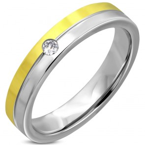 4.5mm | Stainless Steel 2-tone Center Grooved Comfort Fit Wedding Flat Band Ring w/ Clear
