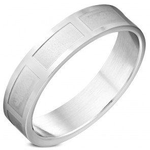 6mm | Stainless Steel Section Wedding Flat Band Ring