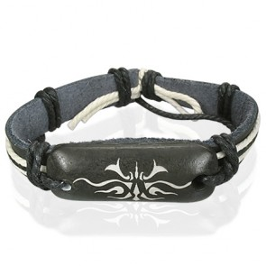 Fashion Rope Black Leather & Bone Tribal Design WatchStyle Bracelet