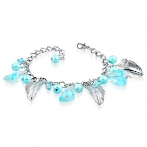 Fashion Alloy Sky Blue Pearl Glass Bead Feather Leaf Charm Link Chain Bracelet