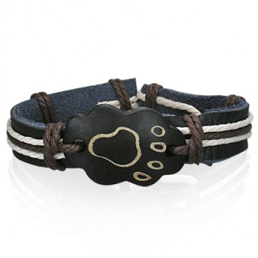 Fashion Rope Black Leather & Bone Footprint WatchStyle Bracelet