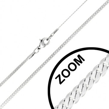 L44cm W2mm | Stainless Steel Lobster Claw Clasp Flat Curb Cuban Link Chain