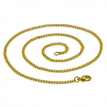 L55cm W3mm | Gold Color Plated Stainless Steel Lobster Claw Clasp Curb Cuban Link Chain