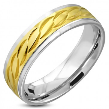 6mm | Stainless Steel 2-tone Celtic Twisted Comfort Fit Half-Round Band Ring