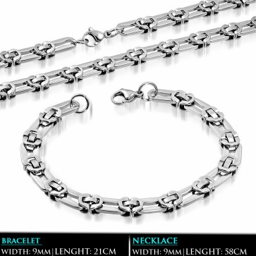 L58cm W9mm | Stainless Steel Lobster Claw Clasp Flat Oval Link Chain & Bracelet (SET)
