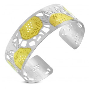 Stainless Steel 2-tone Cut-out Lotus Leaf Cuff Bangle