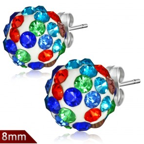 8mm | Stainless Steel Argil Disco Ball Shamballa Stud Earrings w/ Colorful CZ (pair)