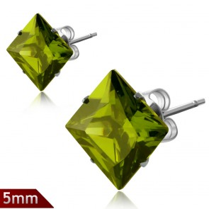 5mm | Stainless Stee Prong-Set Square Stud Earrings w/ Olivine CZ (pair)