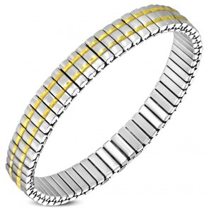 9mm | Stainless Steel 2-tone Section Stretch Bracelet