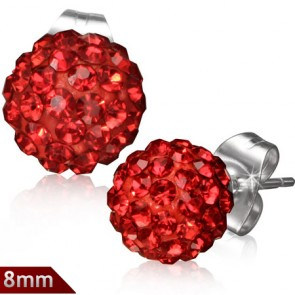 8mm | Stainless Steel Argil Disco Ball Shamballa Stud Earrings w/ Light Siam Red CZ (pair)
