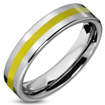 6mm | Tungsten Carbide Yellow Enameled Stripe Comfort Fit Flat Band Ring