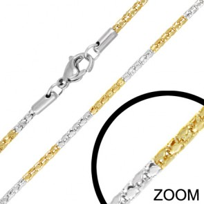 L45cm W2.6mm | Stainless Steel 2-tone Lobster Claw Clasp Mirrored Mesh-Link Chain