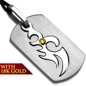 Stainless Steel 2-tone Cut-out Tribal Phoenix Tag Charm Pendant w/ 18k Yellow Gold Adjustable Black String Cord Necklace