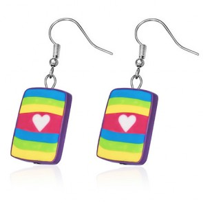 Fashion Fimo/ Polymer Clay Love Heart Colorful Square Long Drop Hook Earrings (pair)