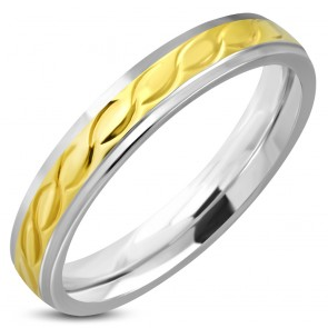 4mm | Stainless Steel 2-tone Celtic Twisted Comfort Fit Half-Round Band Ring