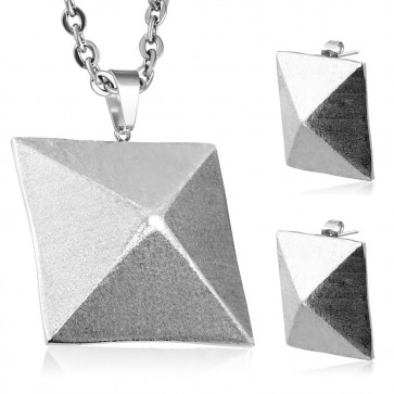 Stainless Steel Matte Finish Pyramid Charm Pendant & Pair of Stud Earrings (SET)