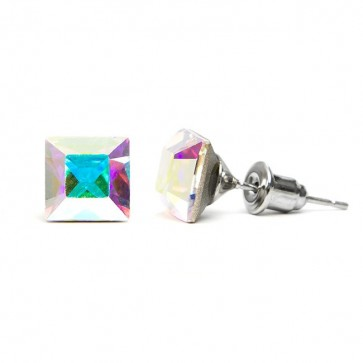 Square Stainless Steel Stud Earrings w/ Crystal AB Swarovski® Elements Crystals