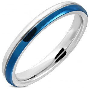 3mm | Stainless Steel Satin Finished 2-tone Center Groove Comfort Fit Half-Round Wedding Band Ring
