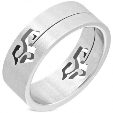 6mm | Stainless Steel Matte Finished Cut-out Tribal Design Flat Band Ring