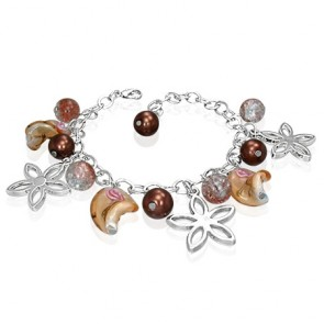 Fashion Alloy Brown Pearl Bead Glass Flower Star Charm Link Chain Bracelet