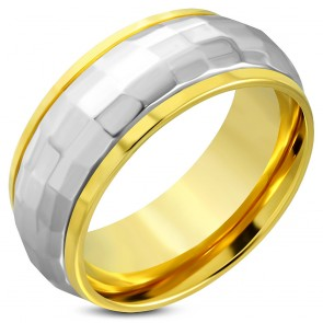 10mm | Gold Color Plated Stainless Steel 2-­tone Faceted Comfort Fit Half-­Round Band Ring ­