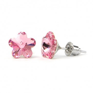 Flower Stainless Steel Stud Earrings w/ Jazzy Pink Swarovski® Elements Crystals