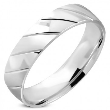 6mm   Stainless Steel Diamond-Cut Striped Comfort Fit Half-Round Wedding Band Ring