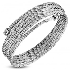 Stainless Steel Multi Wrap Celtic Twisted Cable WireTorc Cuff Bangle