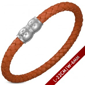 L-22cm W-6mm | Orange Brown Braided Leather Bracelet w/ Stainless Steel Magnetic Lock