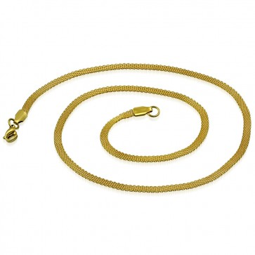 L46cm W3mm   Gold Color Plated Stainless Steel Lobster Claw Clasp Flat Mesh Link Chain