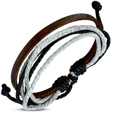 Fashion Colorful Wrap Rope Adjustable Brown Leather Bracelet