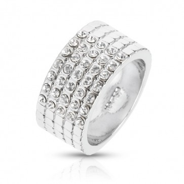 10 mm Wide Ring w/ Swarovski® Elements Crystals - 18ct Platinum Plated
