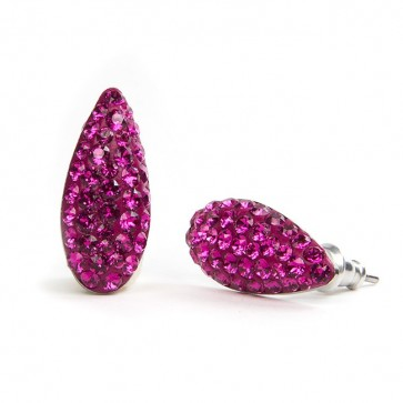Almond Stainless Steel Stud Earrings w/ Fuchsia Swarovski® Elements Crystals