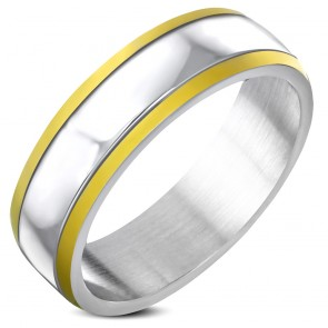 7mm | Stainless Steel 2-tone Engravable Step Edge Flat Band Ring 