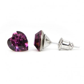 Hearth Stainless Steel Stud Earrings w/ Jazzy Purple Swarovski® Elements Crystals