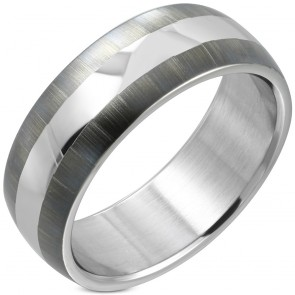 8mm | Stainless Steel 2­-tone Half­-Round Band Ring
