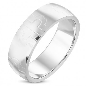 8mm | Stainless Steel Geometric Cross Half­-Round Wedding Band Ring