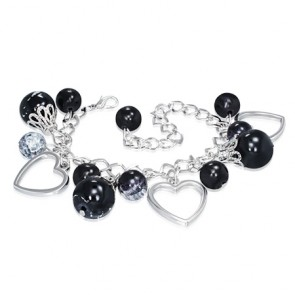 Fashion Alloy Black Pearl Glass Bead Ball Open Love Heart Oval Charm Link Chain Bracelet