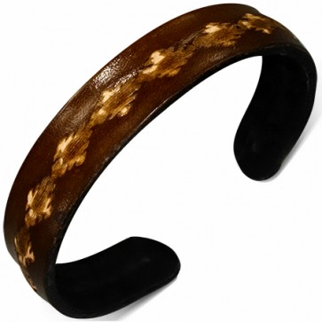 Genuine Brown Leather Engraved Flower Link Cuff Bangle