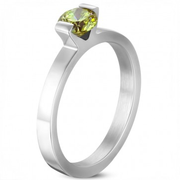 6mm | Stainless Steel Compression ­Set Round Solitaire Engagement Band Ring w/ August Birthstone Peridot CZ ­